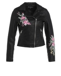schwarze Leder Bikerjacke mit Blumenmuster von Miss Selfridge