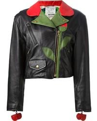 schwarze Leder Bikerjacke mit Blumenmuster von Moschino
