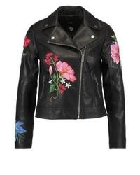 schwarze Leder Bikerjacke mit Blumenmuster von New Look