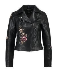 schwarze Leder Bikerjacke mit Blumenmuster von Only