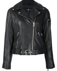 schwarze Leder Bikerjacke von 7 For All Mankind