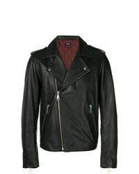 schwarze Leder Bikerjacke von A.P.C.
