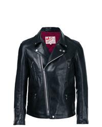 schwarze Leder Bikerjacke von Addict Clothes Japan