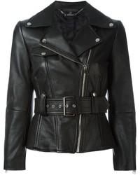 schwarze Leder Bikerjacke von Alexander McQueen
