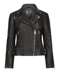 schwarze Leder Bikerjacke von AllSaints
