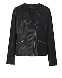 schwarze Leder Bikerjacke von Angel of Style by Happy Size