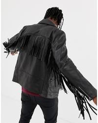 schwarze Leder Bikerjacke von ASOS DESIGN