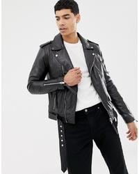 schwarze Leder Bikerjacke von Barney's Originals