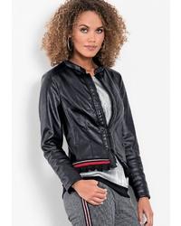 schwarze Leder Bikerjacke von BIANCA