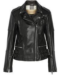 schwarze Leder Bikerjacke von Burberry