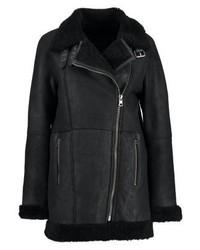schwarze Leder Bikerjacke von Calvin Klein