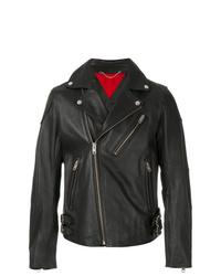 schwarze Leder Bikerjacke von Diesel
