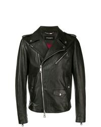 schwarze Leder Bikerjacke von Dolce & Gabbana