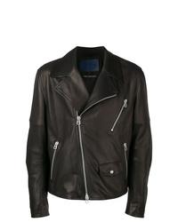 schwarze Leder Bikerjacke von Drome