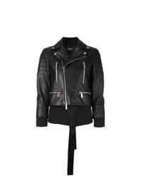 schwarze Leder Bikerjacke von Dsquared2
