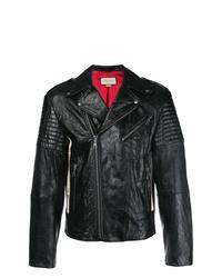 schwarze Leder Bikerjacke von Gucci