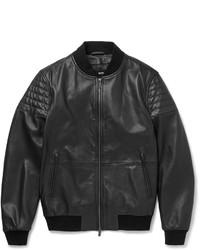 schwarze Leder Bikerjacke von Hugo Boss