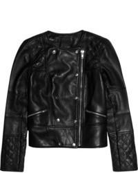 schwarze Leder Bikerjacke von J.Crew