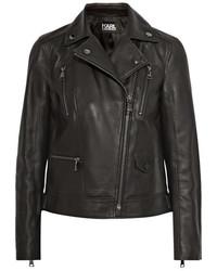 schwarze Leder Bikerjacke von Karl Lagerfeld