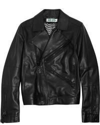 schwarze Leder Bikerjacke von Kenzo