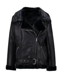 schwarze Leder Bikerjacke von KIOMI