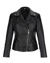 schwarze Leder Bikerjacke von LAURA KENT