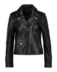 schwarze Leder Bikerjacke