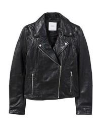 schwarze Leder Bikerjacke von Mango