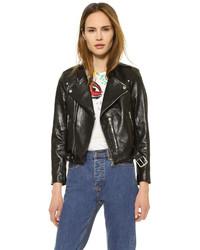 schwarze Leder Bikerjacke von Marc Jacobs