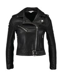 schwarze Leder Bikerjacke von Miss Selfridge