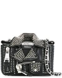 schwarze Leder Bikerjacke von Moschino