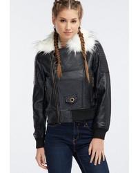 schwarze Leder Bikerjacke von myMo