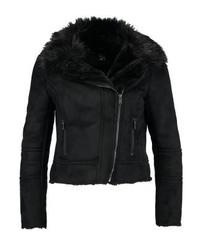 schwarze Leder Bikerjacke von New Look