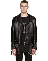 schwarze Leder Bikerjacke von Off-White