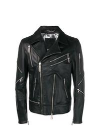 schwarze Leder Bikerjacke von Philipp Plein