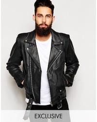 schwarze Leder Bikerjacke von Reclaimed Vintage
