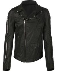 schwarze Leder Bikerjacke von Rick Owens