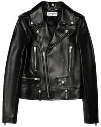 schwarze Leder Bikerjacke von Saint Laurent