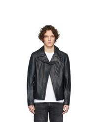 schwarze Leder Bikerjacke von Schott