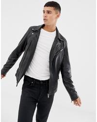 schwarze Leder Bikerjacke von Selected Homme
