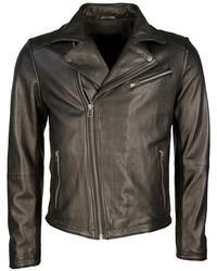 schwarze Leder Bikerjacke von Tom Tailor