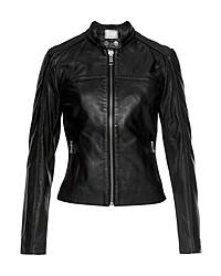 schwarze Leder Bikerjacke von Tommy Hilfiger