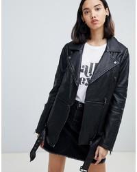 schwarze Leder Bikerjacke von Urbancode
