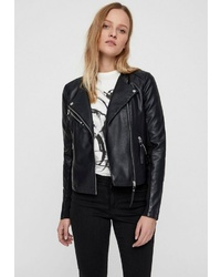 schwarze Leder Bikerjacke von Vero Moda