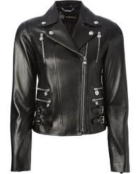 schwarze Leder Bikerjacke von Versace