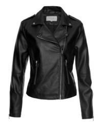 schwarze Leder Bikerjacke von Vila