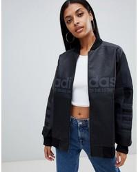 schwarze Leder Bomberjacke von adidas Originals
