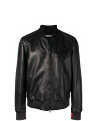 schwarze Leder Bomberjacke von Alexander McQueen