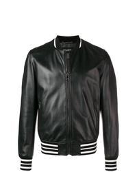 schwarze Leder Bomberjacke von Dolce & Gabbana