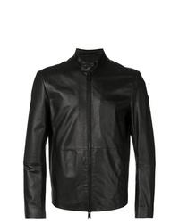 schwarze Leder Bomberjacke von Emporio Armani
